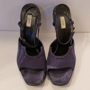 Prada blue platform sandals